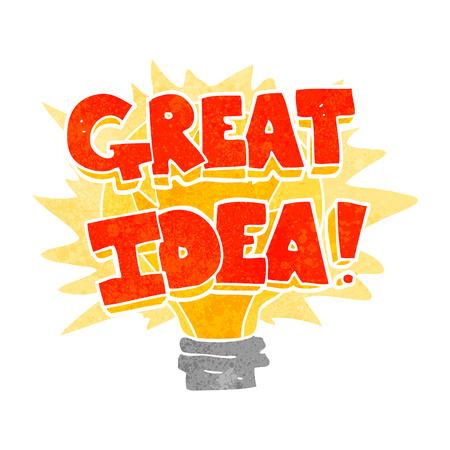 freehand retro cartoon great idea light bulb symbol