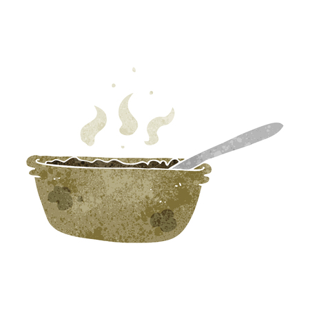 stew: freehand retro cartoon bowl of stew