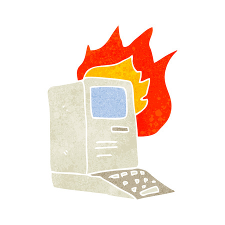 out dated: freehand retro cartoon old computer on fire