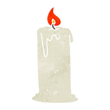 burning candle: freehand retro cartoon burning candle Illustration