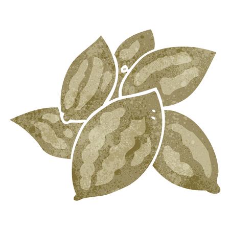 almonds: freehand retro cartoon almonds Illustration