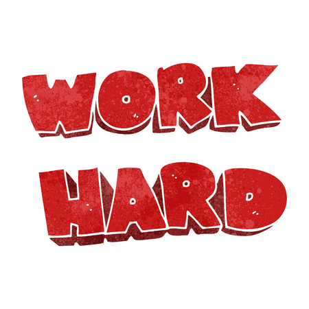 trabajando duro: freehand retro cartoon work hard symbol