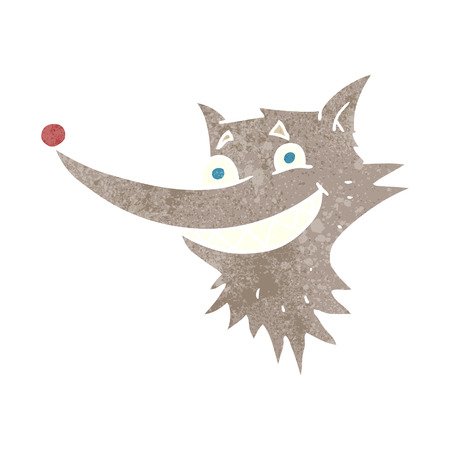 grinning: freehand retro cartoon grinning wolf face Illustration