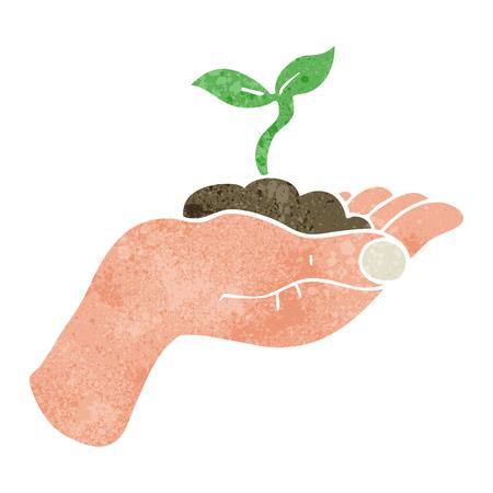 seedling: freehand retro cartoon seedling growing held in hand