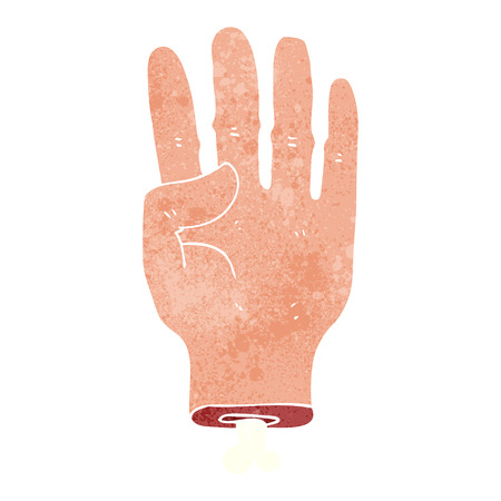 severed: freehand retro cartoon hand Illustration