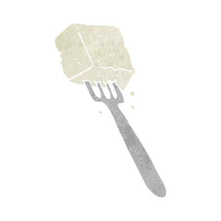 tofu: freehand retro cartoon tofu on fork