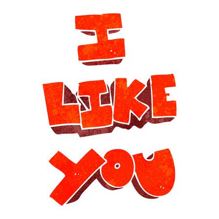 i like: I like you freehand retro cartoon symbol