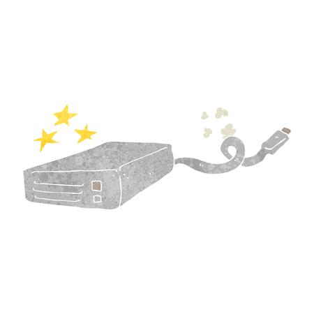 disco duro: disco duro del ordenador a mano alzada de dibujos animados retro