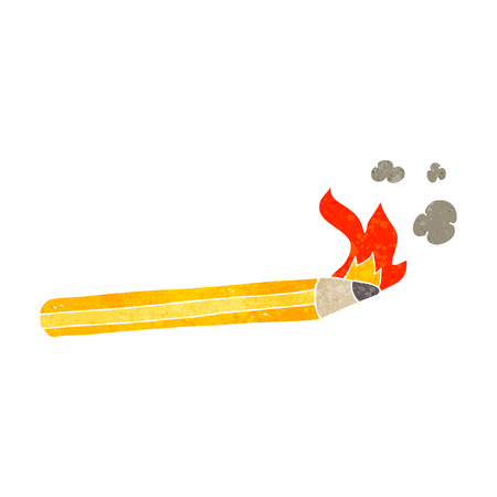 flaming: freehand retro cartoon flaming pencil Illustration