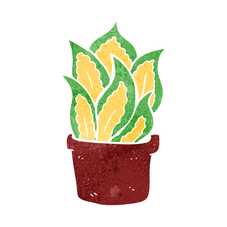 house plant: freehand retro cartoon house plant