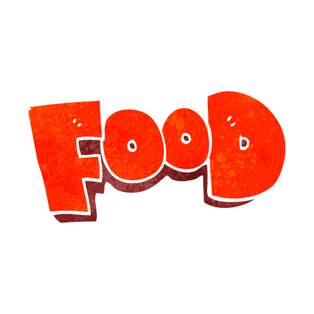 freehand retro cartoon word food