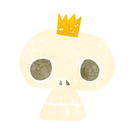 calavera caricatura: freehand retro cartoon skull with crown