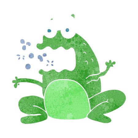 burping: freehand retro cartoon burping frog Illustration