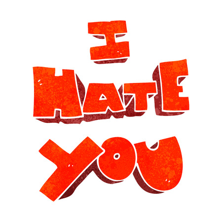 hate: I hate you freehand retro cartoon symbol Illustration