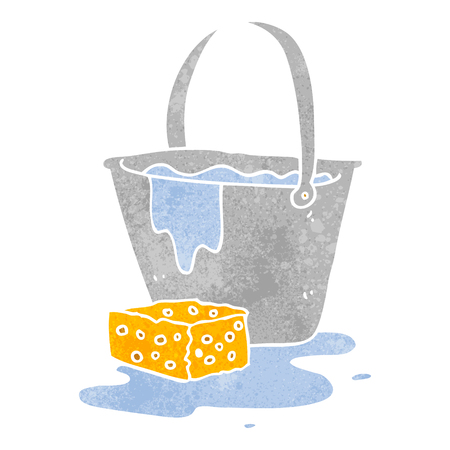 soapy: freehand retro cartoon bucket of soapy water