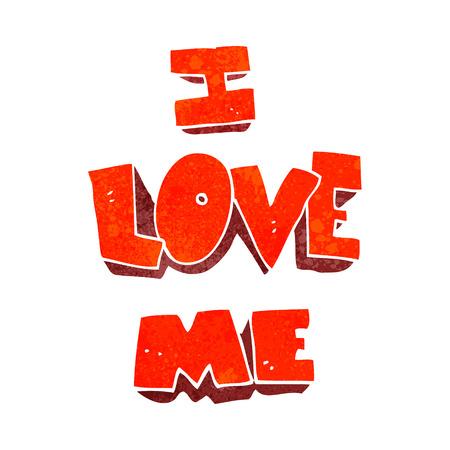 affirmation: i love me freehand retro cartoon symbol