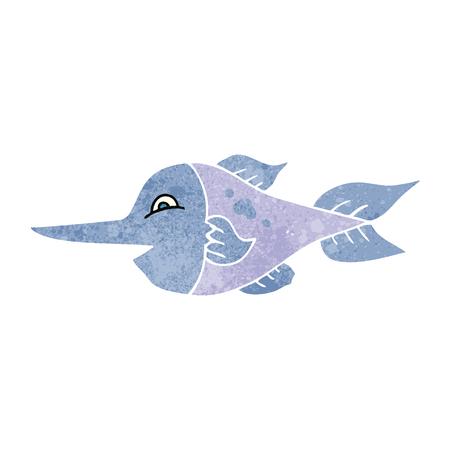 pez espada: a mano alzada el pez espada retro de la historieta Vectores