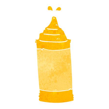 mustard: freehand retro cartoon mustard bottle Illustration