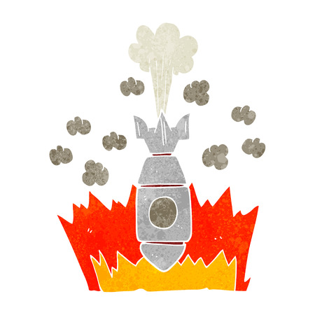 cartoon bomb: freehand retro cartoon falling bomb