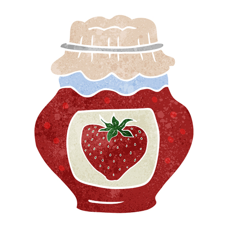 strawberry jam: freehand retro cartoon jar of strawberry jam