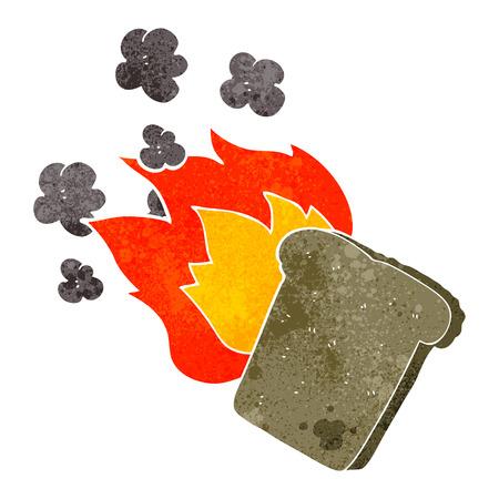 burnt toast: freehand retro cartoon burnt toast Illustration