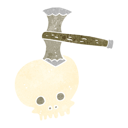 cartoon axe: freehand retro cartoon axe in skull