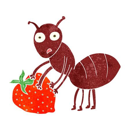 hormiga caricatura: a mano alzada hormiga retro de la historieta con la baya