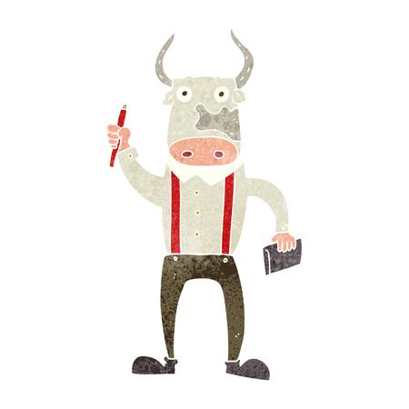 bull pen: freehand retro cartoon bull man Illustration