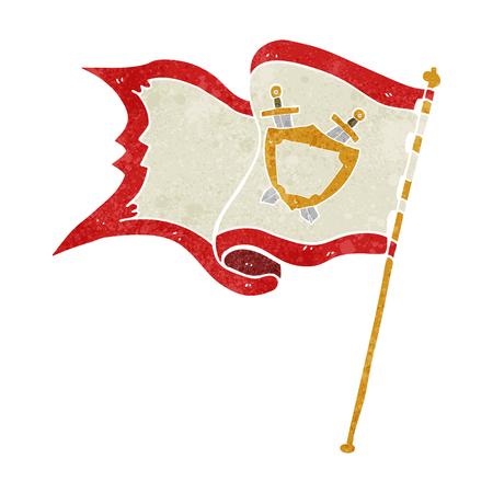cartoon wind: freehand retro cartoon flag blowing in wind