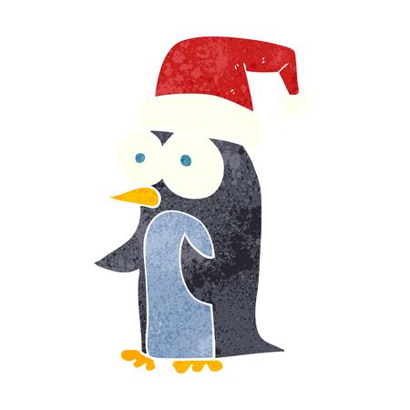 retro christmas: freehand retro cartoon christmas penguin