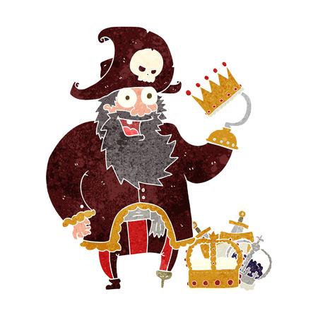 freehand retro cartoon pirate captain Illustration