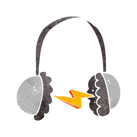 ear muffs: freehand retro cartoon headphones Illustration