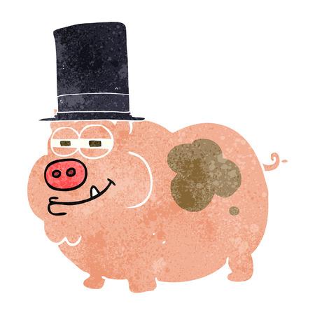 rich: freehand retro cartoon rich pig