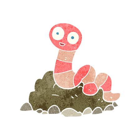 lombriz de tierra: lombriz de tierra a mano alzada de dibujos animados retro Vectores