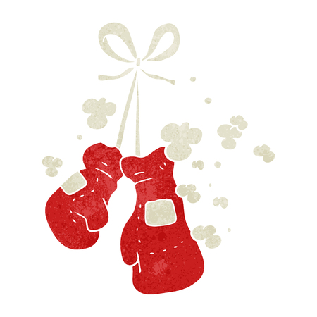 boxing sport: freehand retro cartoon boxing gloves