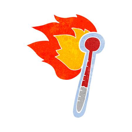 hot temperature: freehand retro cartoon temperature gauge getting too hot