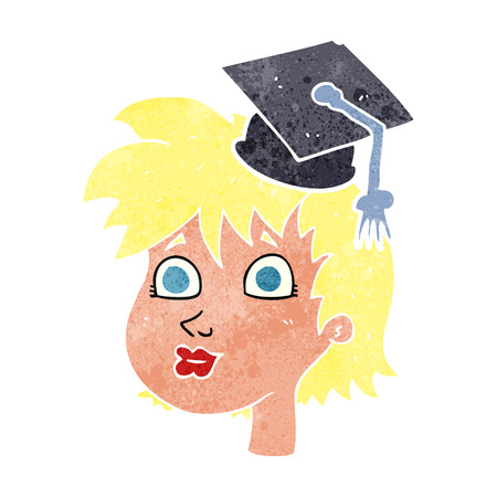 retro woman: freehand retro cartoon woman wearing graduate cap