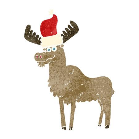retro christmas: freehand retro cartoon christmas moose