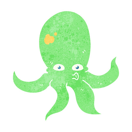 cartoon octopus: freehand retro cartoon octopus