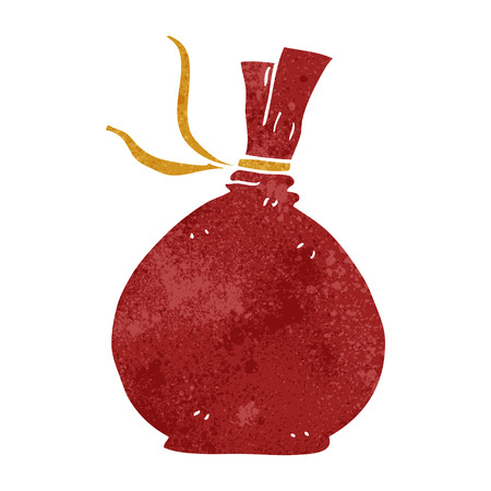 santa sack: freehand retro cartoon christmas santa sack