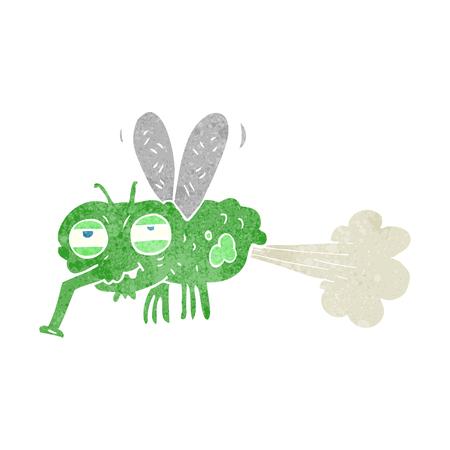 farting: freehand retro cartoon gross farting fly Illustration