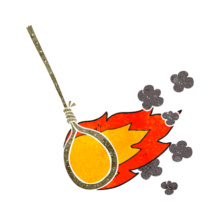 noose: freehand retro cartoon flaming noose