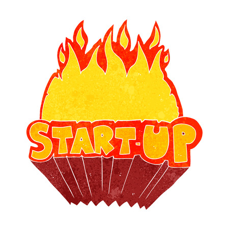startup: freehand retro cartoon startup symbol Illustration