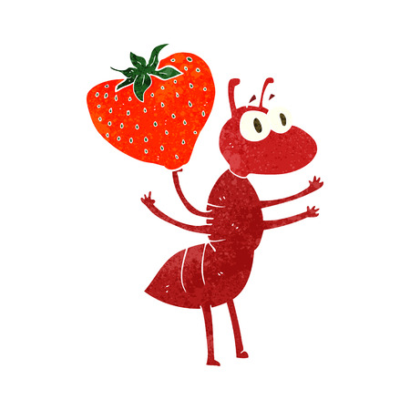 cartoon berries: freehand retro cartoon ant carrying food Illustration