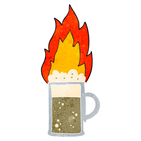 flaming: freehand retro cartoon flaming tankard of beer Illustration