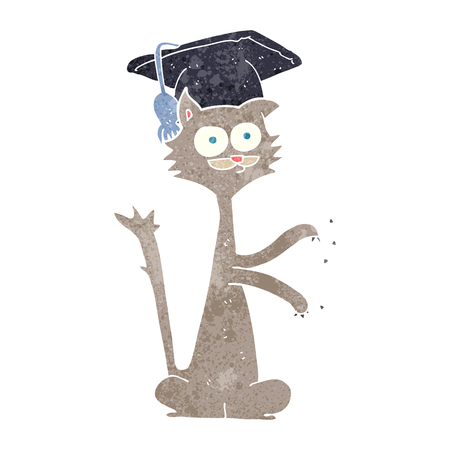 and scratching: freehand retro cartoon cat scratching with graduation cap