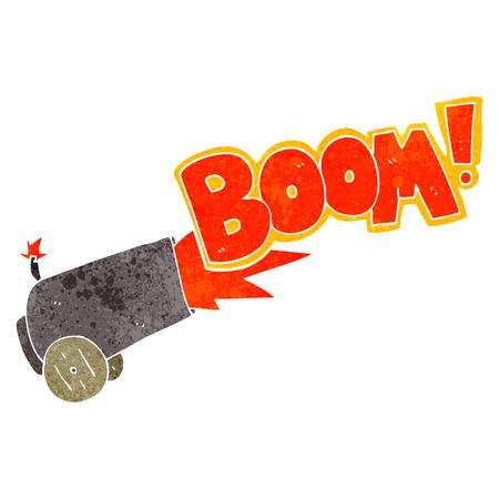 firing: freehand retro cartoon cannon firing
