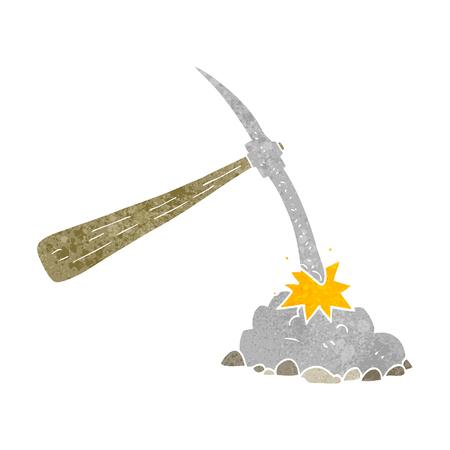pick axe: freehand retro cartoon pick axe
