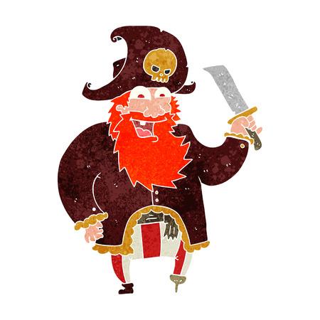 captain: freehand retro cartoon pirate captain Illustration