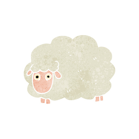 farting: freehand retro cartoon farting sheep Illustration